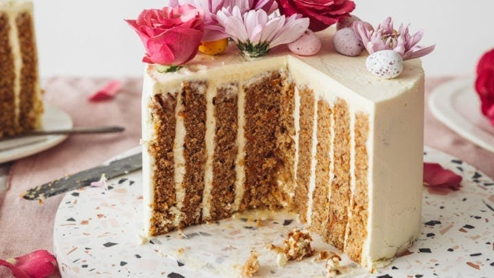 Fine Vertical Layer Carrot Cake Izy Hossack Top With Cinnamon Personalised Birthday Cards Bromeletsinfo