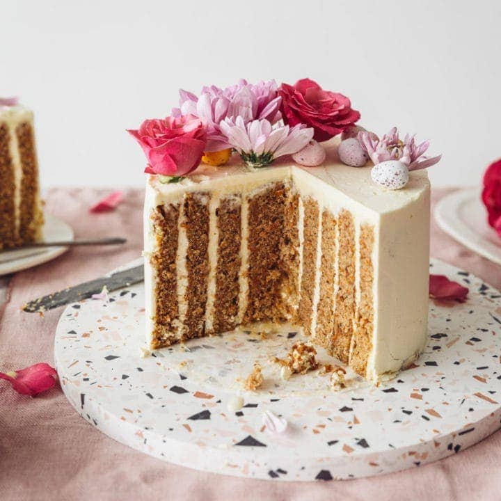 Vertical Layer Carrot Cake with vanilla Swiss Meringue Buttercream by Izy Hossack