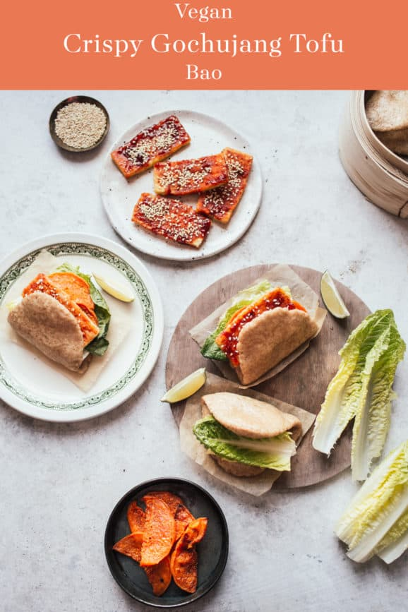 "Bao buns filled with crispy gochujang tofu and lettuce with a bamboo steamer"" data-pin-description=""Crispy tofu with a sweet & spicy gochujang sauce in soft, fluffy bao buns. Great for a plant-based dinner!"