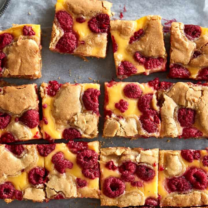 Raspberry & Custard Blondies