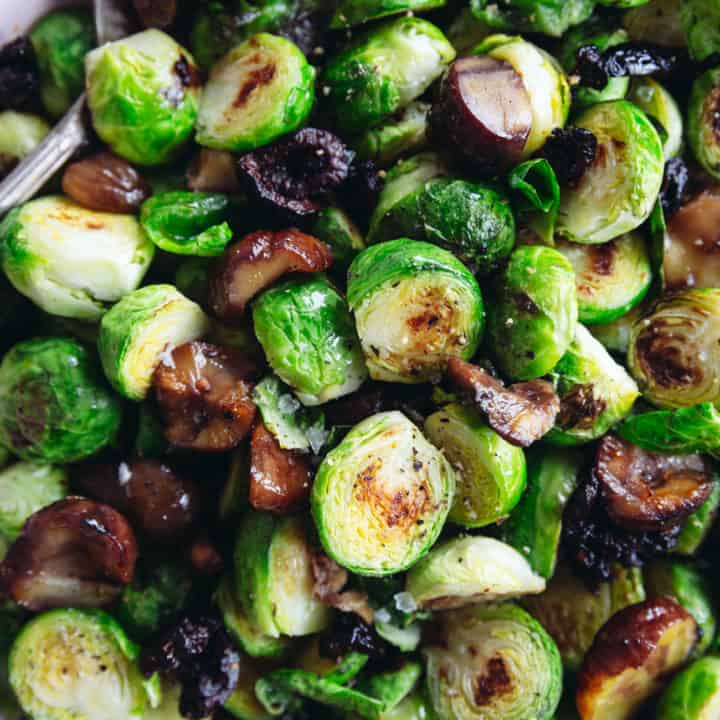 Pan Roasted Brussels Sprouts with Chestnuts & Smoky Olives