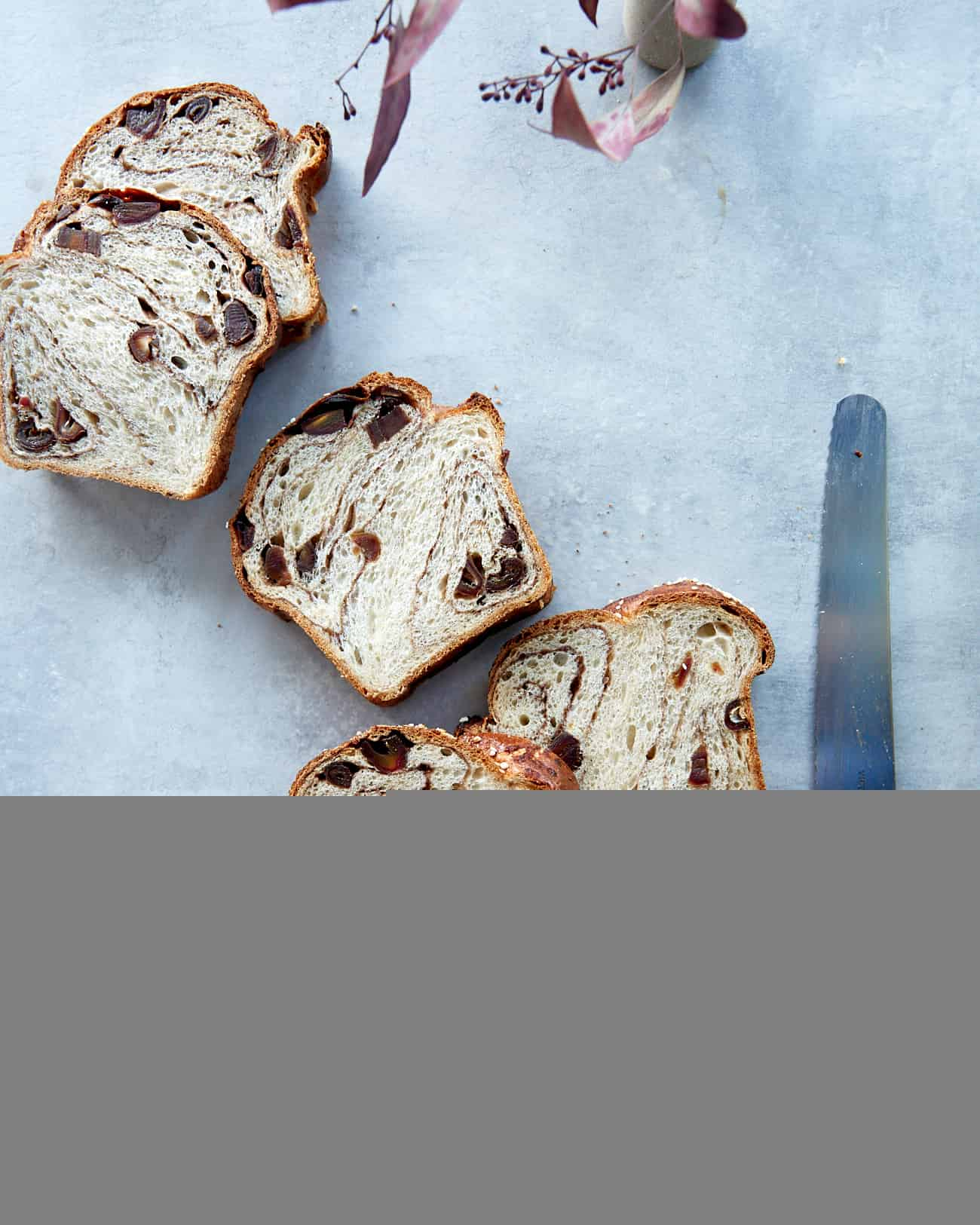 Overhead image of sliced cinnamon swirl sourdough bread