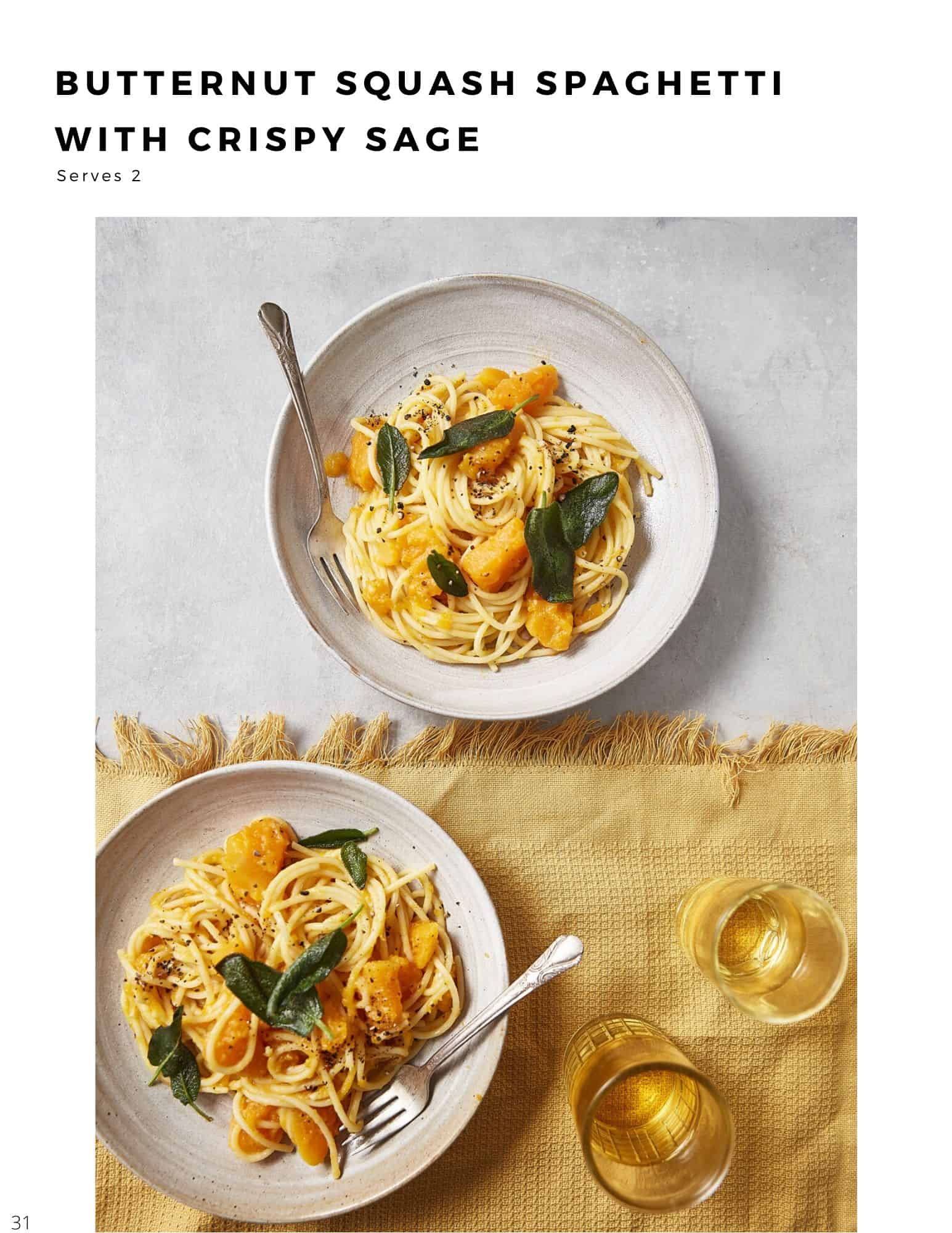 30 minute plant based recipes butternut squash and sage spaghetti