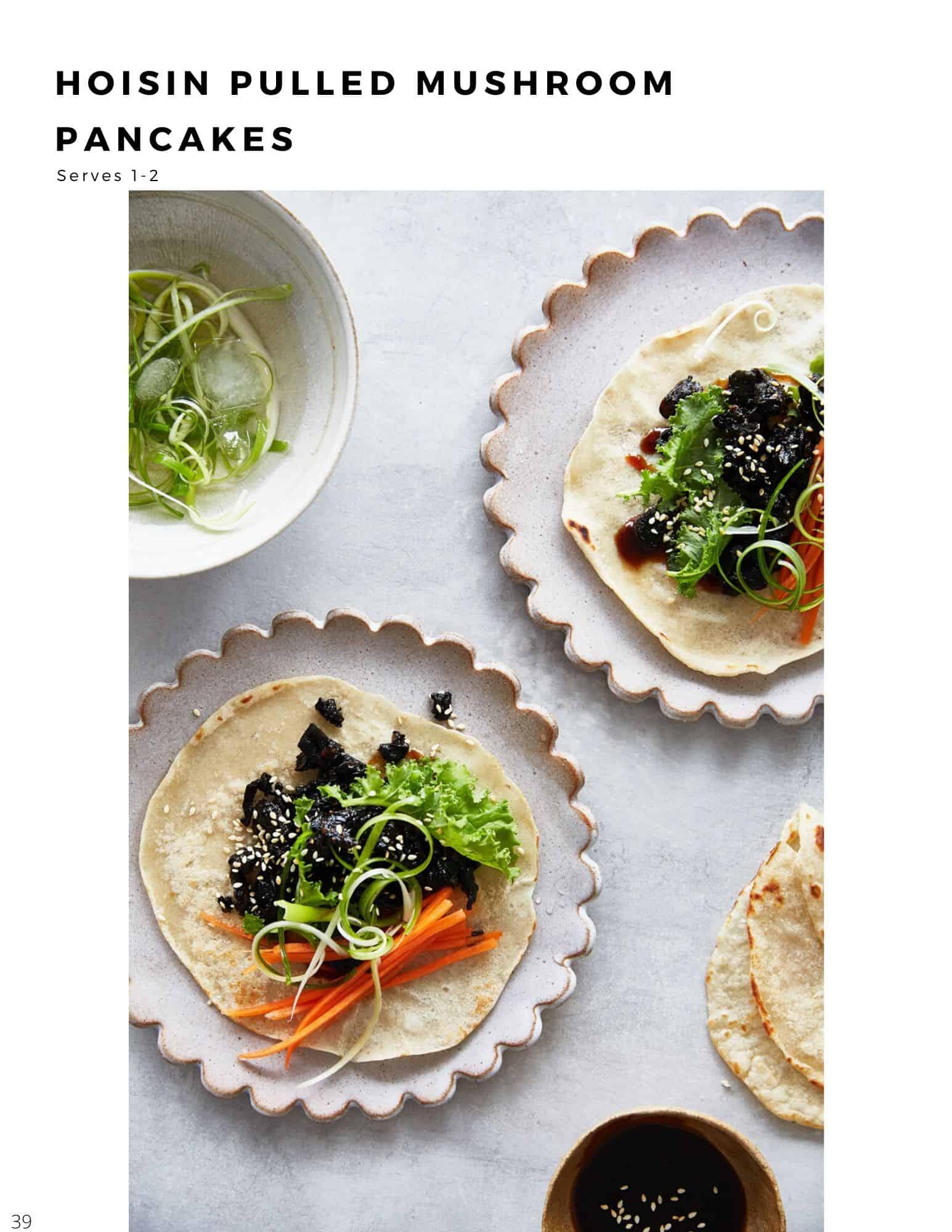 30 minute plant based recipes hoisin pulled mushroom pancakes