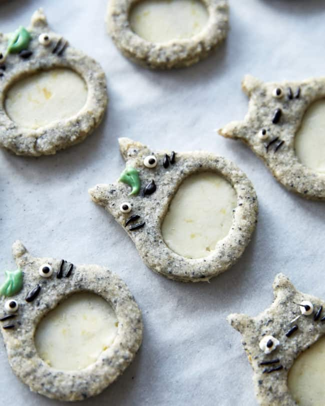 Totoro cookies made with black sesame dough and lemon ganache filling from studio ghibli