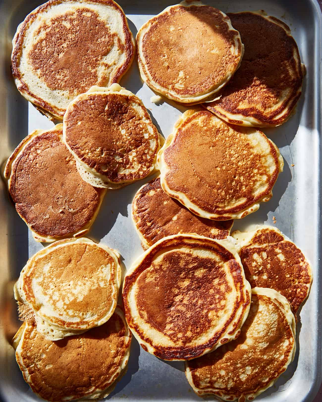 fluffy American pancakes on a tray