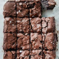 Overhead view of sliced vegan sourdough brownies