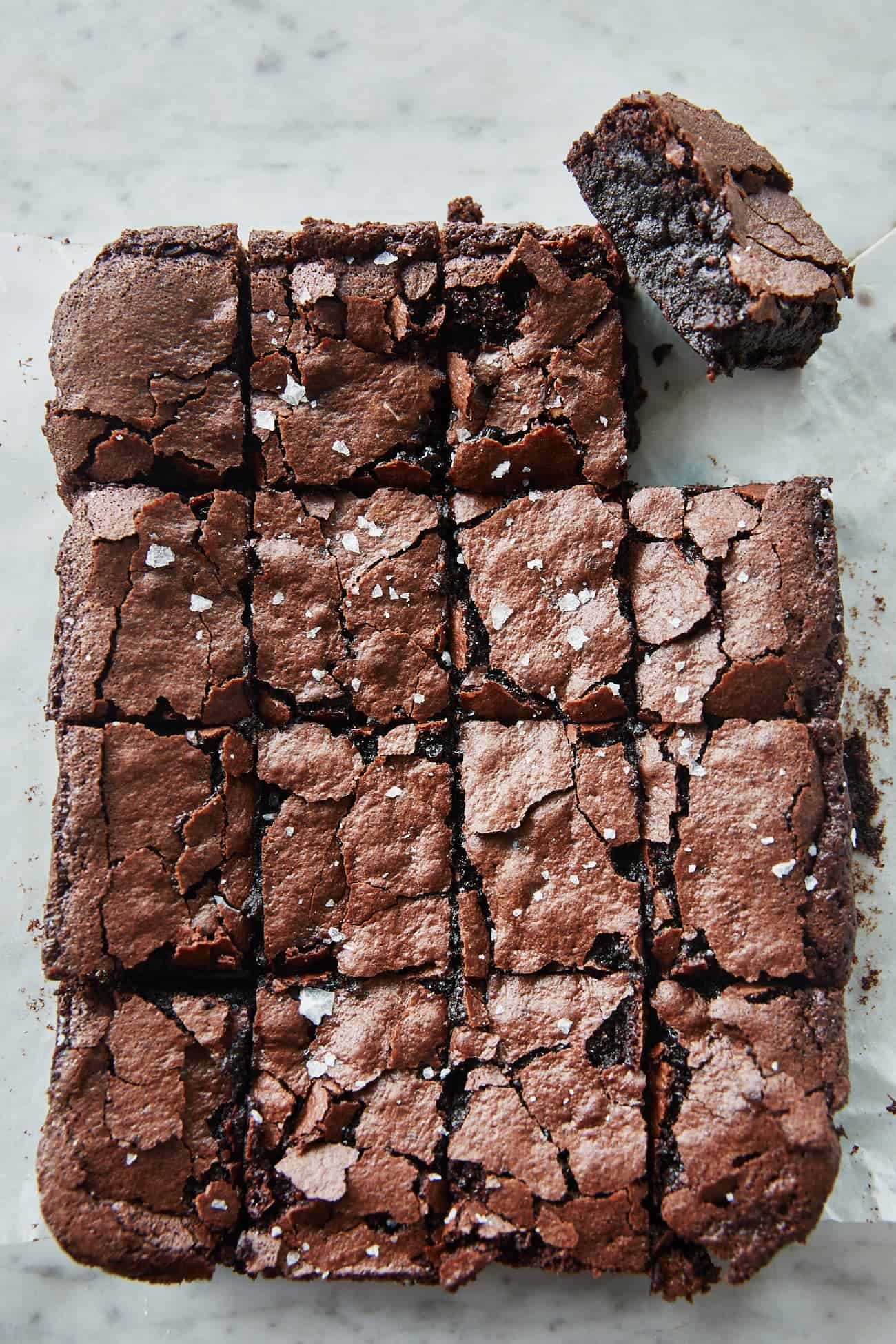 Overhead view of sliced vegan sourdough brownies