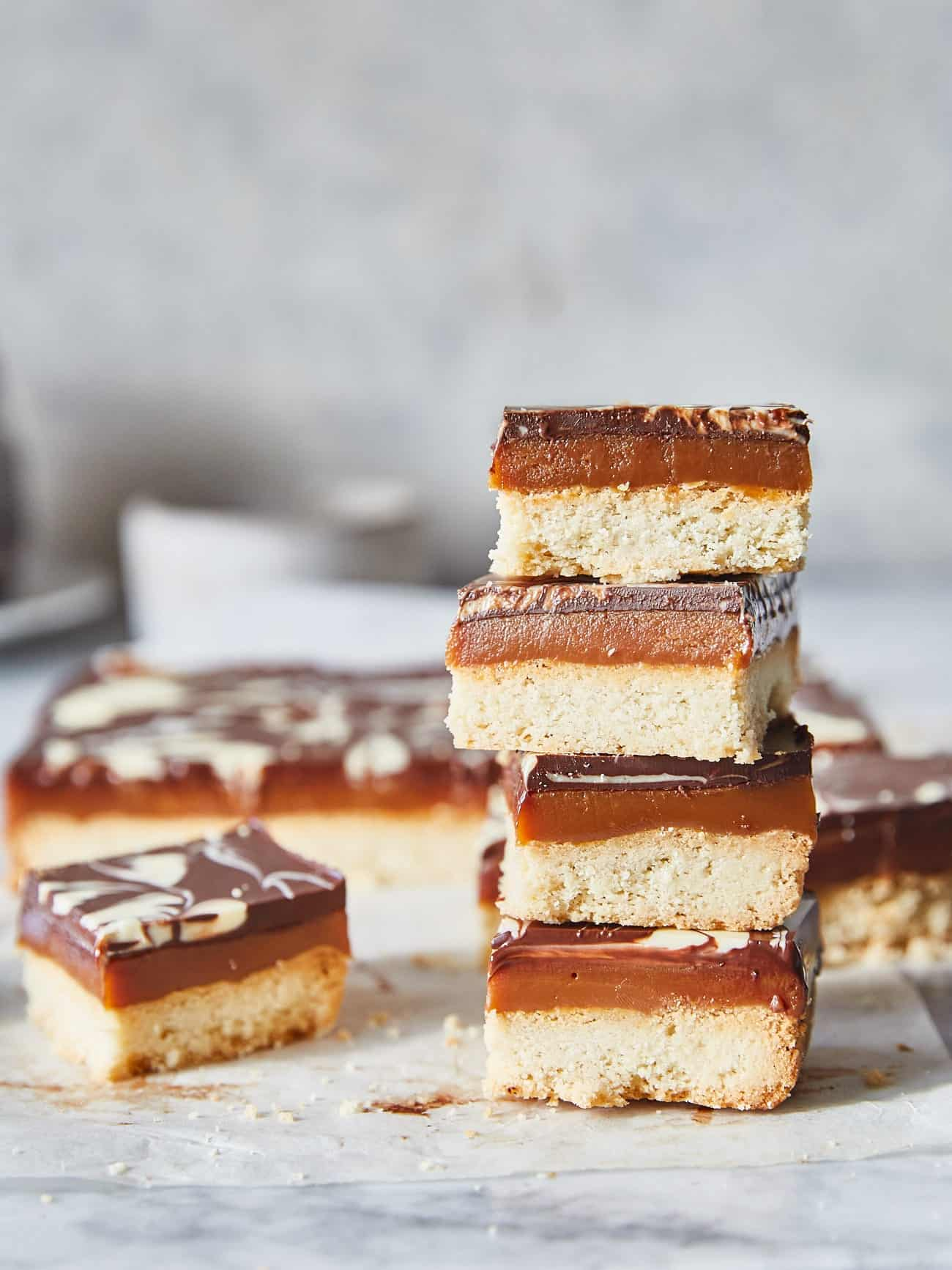 a stack of millionaire's shortbread