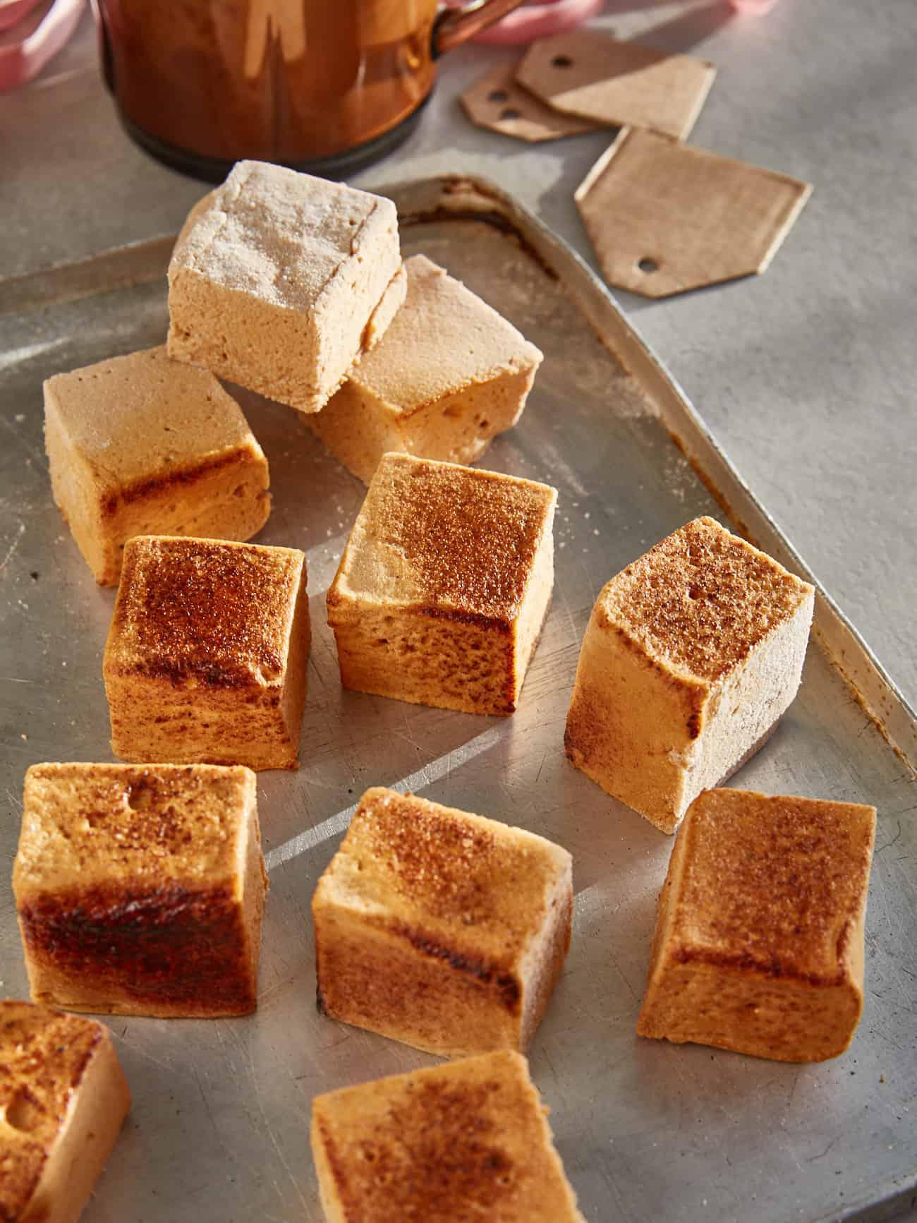 toasted pumpkin marshmallows on a tray