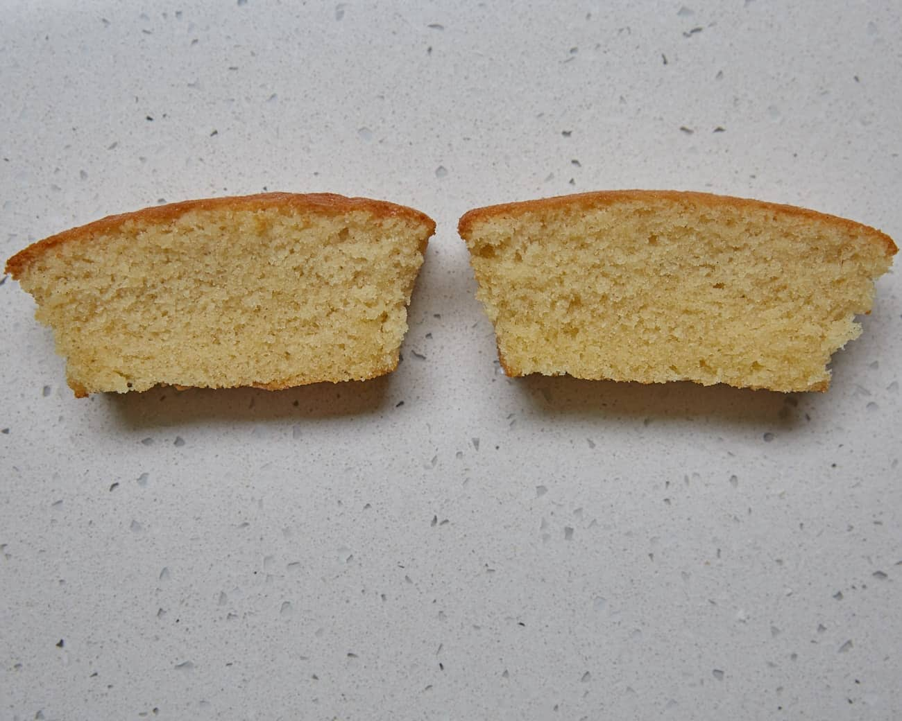 Cross sections of two small cakes using homemade self-raising flour and shop-bought self-raising flour