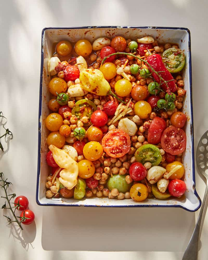 Tray of prepped confit tandoori chickpeas from ottolenghi's cookbook